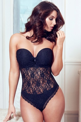 Pour Moi Black Rebel Strapless Padded Underwired Body E+