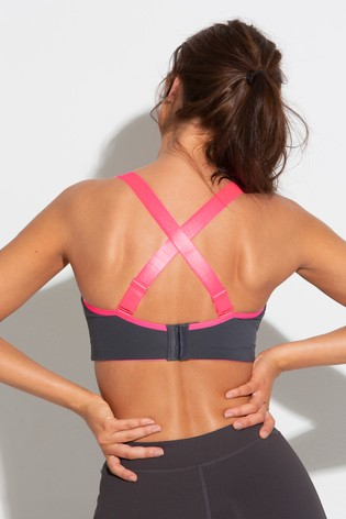 Pour Moi Grey Pink Energy Underwired Lightly Padded Convertible Sports Bra