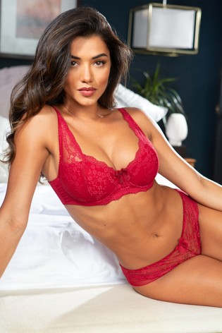 Pour Moi Red Flora Lightly Padded Underwired Bra E+