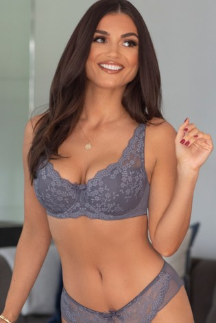Pour Moi Grey Flora Lightly Padded Underwired Bra E+