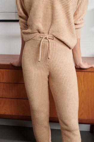 Lipsy Camel Rib Cuffed Leg Knitted Jogger