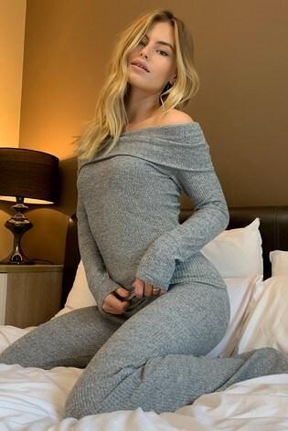 Lipsy Grey Rib Bardot Top