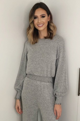 Lipsy Grey Lounge Shirred Cosy Top