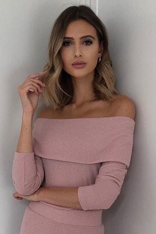 Lipsy Pink Rib Bardot Top