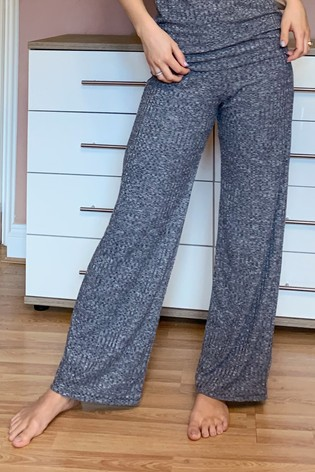 Lipsy Grey Rib Wide Leg Trousers