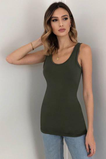 Lipsy Khaki Regular Long Line Vest Top