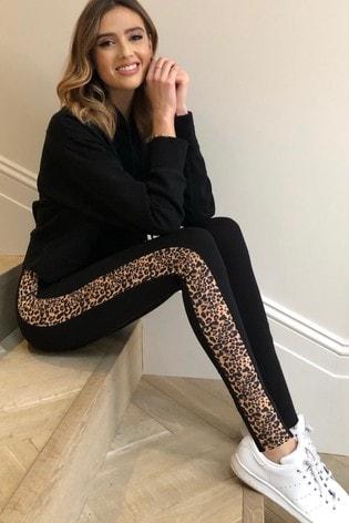 Lipsy Black Animal Regular High Waist Leggings