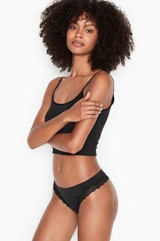 Victoria's Secret Seamless Lace Trim Thong Panty