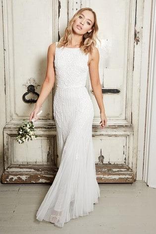 Sistaglam White Sequin Halterneck Maxi Dress