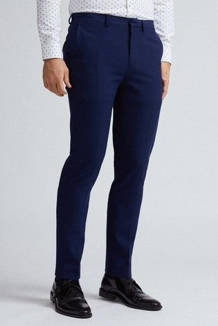 Burton Navy Skinny Fit Blue Texture Suit Trousers