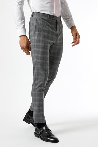 Burton Grey Skinny Fit Fine Check Suit Trousers