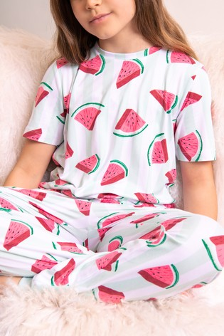 Chelsea Peers White Watermelon Print NYC Kids Watermelon Eco Long Pj Set