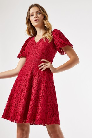 Dorothy Perkins Red V Neck Lace Fit And Flare Dress