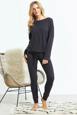 Sosandar Grey Rib Drawstring Loungewear Top Co-Ord