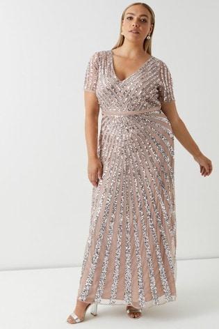 Maya Blush Curve Embellished Maxi Dress