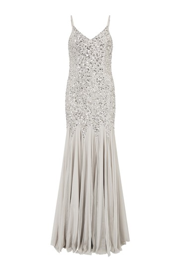 Maya Grey Sequin Fishtail Maxi Dress