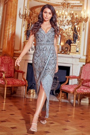 Sistaglam Short Sleeve V neck Maxi Dress