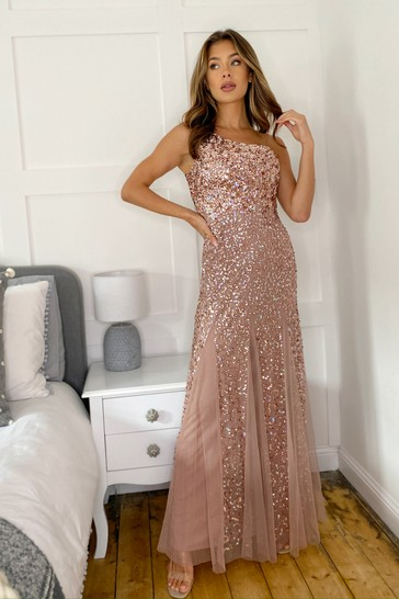Sistaglam Rose gold One Shoulder All Over Sequin Maxi Dress