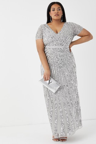 Maya Silver Curve Embellished Maxi Dress