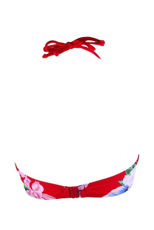 Pour Moi Red Floral Miami Brights Adjustable Halter Underwired Top E+