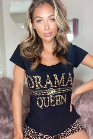Lipsy Black Scoop Tshirt Short Pyjama Set