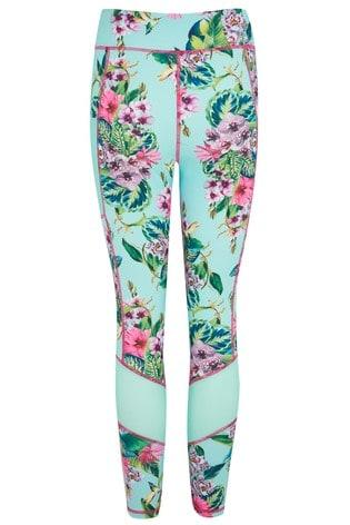 Pour Moi Blue/ Pink Floral Energy Mesh Panel Sports Leggings