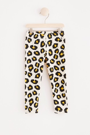 Lindex White Leopard Baby Leggings