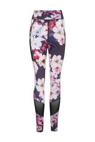 Pour Moi Grey Floral Energy Mesh Panel Sports Leggings