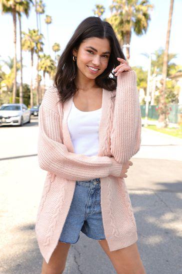 Lipsy Pink Regular Cable Cardigan