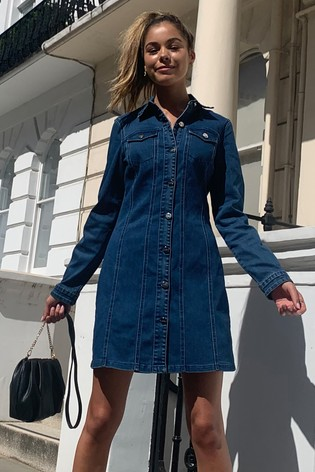 Lipsy Blue Regular Long Sleeve Denim Dress