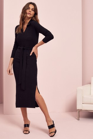 Lipsy Black Cosy Polo Collar Midi Dress