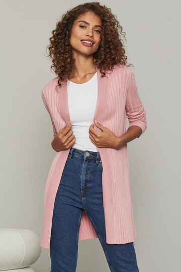 Lipsy Pink Knitted Pleated Ribbed Cardigan