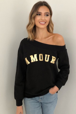 Lipsy Black Amour Slash Neck Sweat