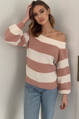 Lipsy Pink Stripe Slash Neck Knitted Jumper