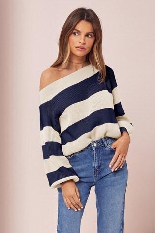 Lipsy Navy Stripe Slash Neck Knitted Jumper