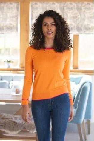 Pour Moi Orange Colourblock Knit Jumper