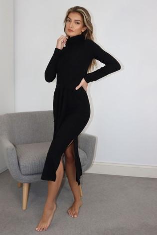 Lipsy Black Cosy Rollneck Tie Dress