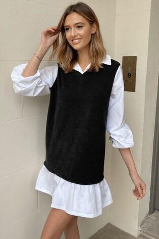Lipsy Monochrome Shirt and Vest Layer Dress