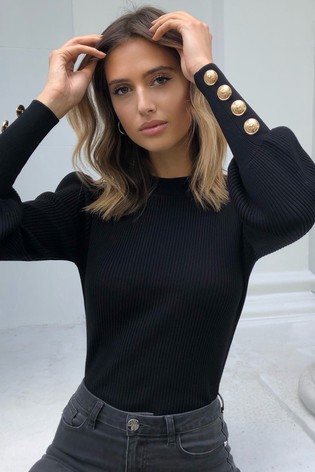 Lipsy Black Knitted Military Button Turtleneck Jumper