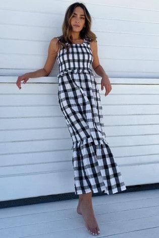Lipsy Mono Check Regular Shirred Strappy Midi Dress