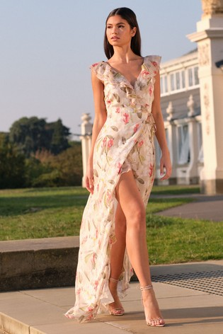 Lipsy Cream Printed Ruffle Maxi Dress