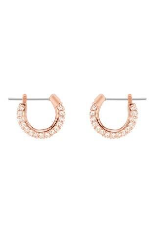 Swarovski Rose Gold Stone Pierced Earrings