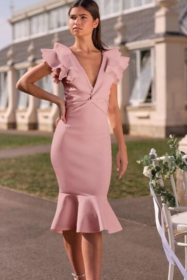 Lipsy Blush Ruffle Shoulder Midi Dress