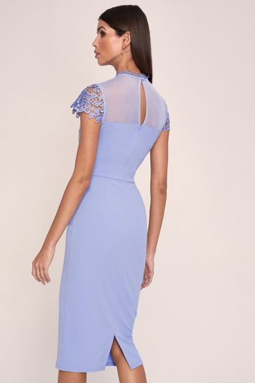 Lipsy Cornflower Blue Regular Lace Detail Bodycon Dress