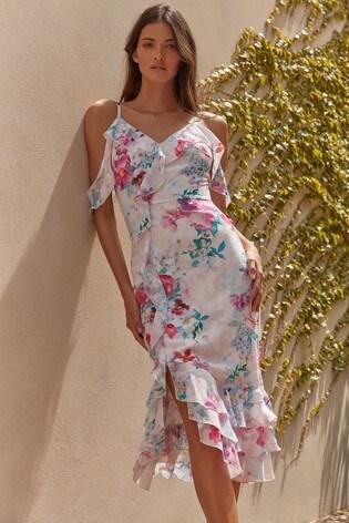 Lipsy White Printed Burnout Midi Dress