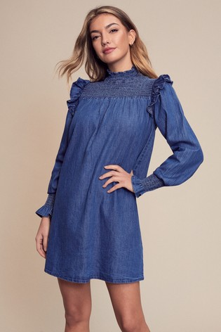 Lipsy Blue Denim Shirred Yoke Dress