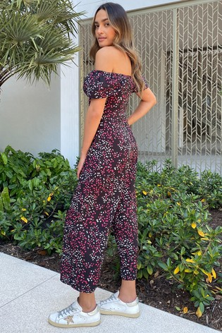 Lipsy Floral Puff Sleeve Sweetheart Jumpsuit