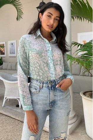 Lipsy Green Animal Regular Printed Shirt