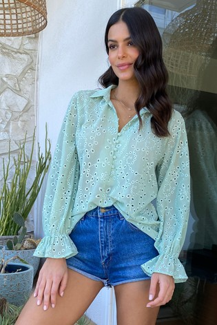 Lipsy Green Button Front Blouse