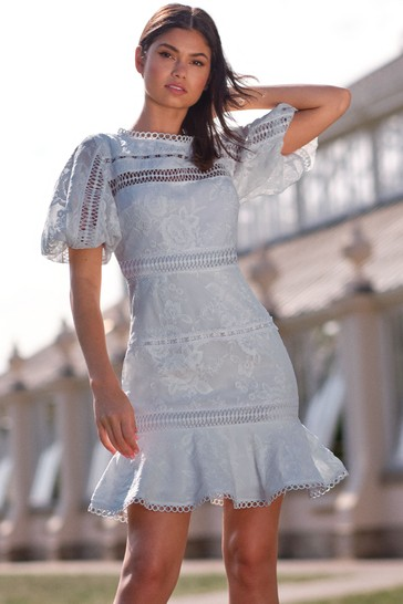 Lipsy Blue Puff Sleeve Lace Skater Dress